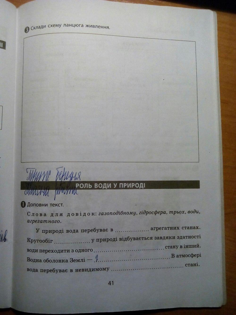 ГДЗ відповіді робочий зошит по биологии 5 класс. Задание: стр. 41