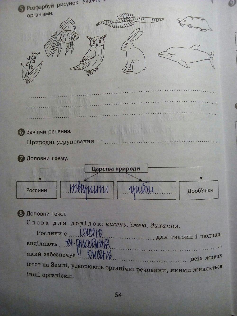 ГДЗ відповіді робочий зошит по биологии 5 класс. Задание: стр. 54