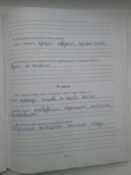 ГДЗ відповіді робочий зошит по литературе 7 класс. Задание: стр. 115