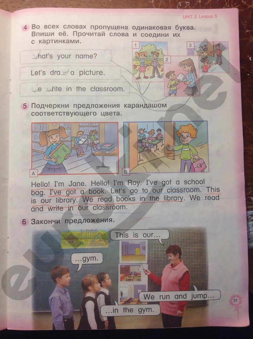 ГДЗ по английскому языку 1 класс рабочая тетрадь Колтавская А.А. Костюк Е.В. Часть 1. Задание: стр. 31