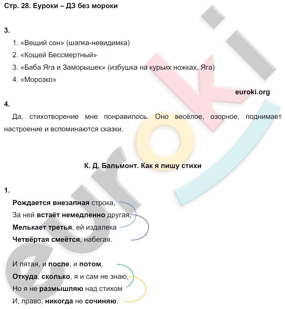 ГДЗ по литературному чтению 4 класс рабочая тетрадь Ефросинина Часть 1, 2. Задание: стр. 28