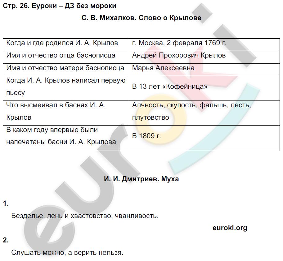 ГДЗ по литературному чтению 4 класс рабочая тетрадь Ефросинина Часть 1, 2. Задание: стр. 26