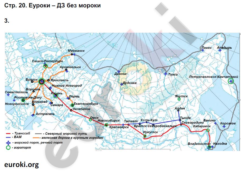 ГДЗ по географии 9 класс рабочая тетрадь Баринова, Суслов. Задание: стр. 20