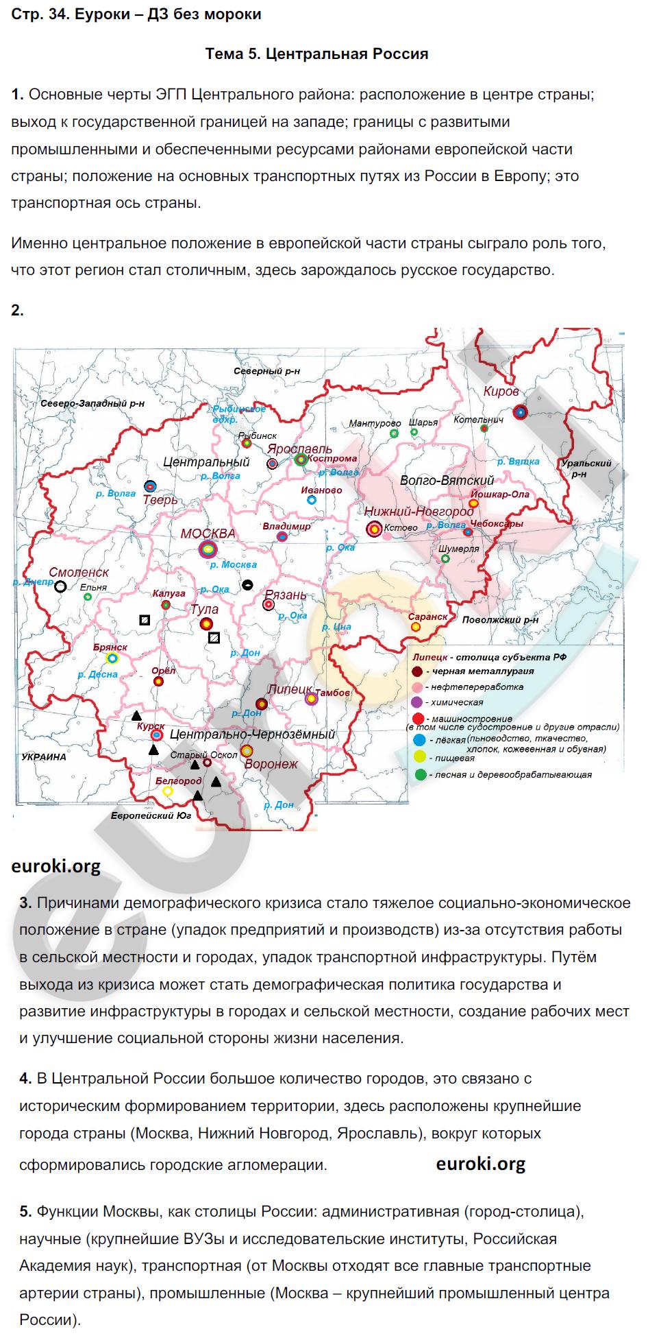 ГДЗ по географии 9 класс рабочая тетрадь Баринова, Суслов. Задание: стр. 34