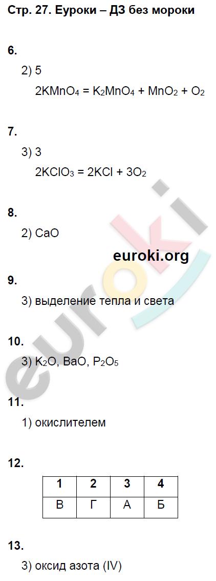 ГДЗ по химии 8 класс тетрадь тренажёр Гара. Задание: стр. 27