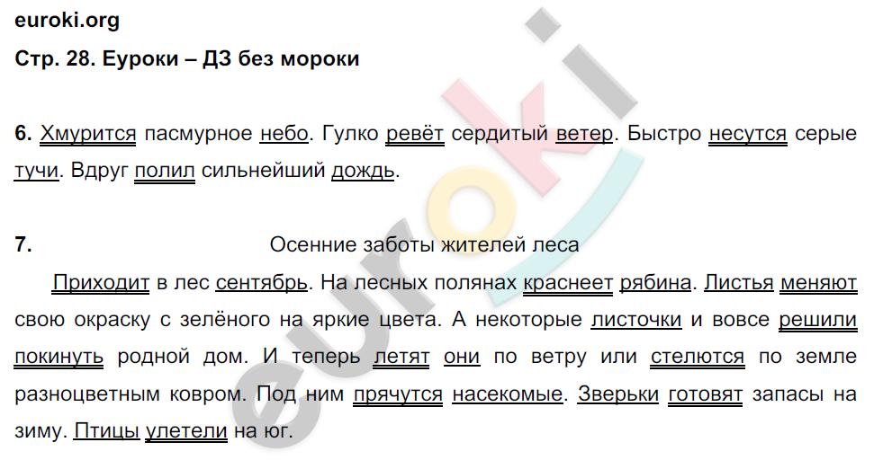 ГДЗ по русскому языку 4 класс контрольные работы Крылова Часть 1, 2. Задание: стр. 28