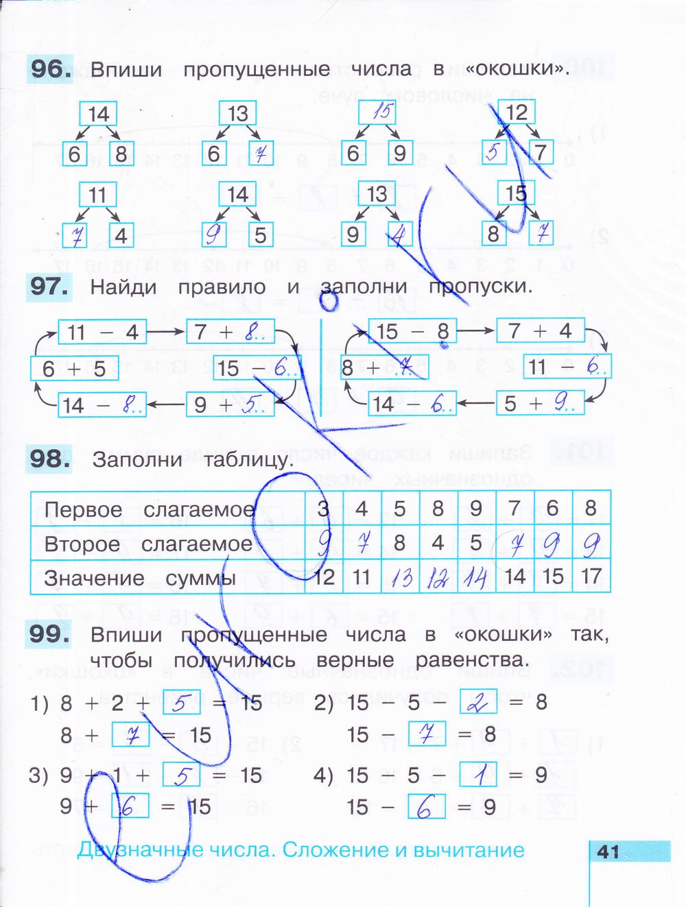 ГДЗ по математике 2 класс рабочая тетрадь Истомина Часть 1, 2. Задание: стр. 41