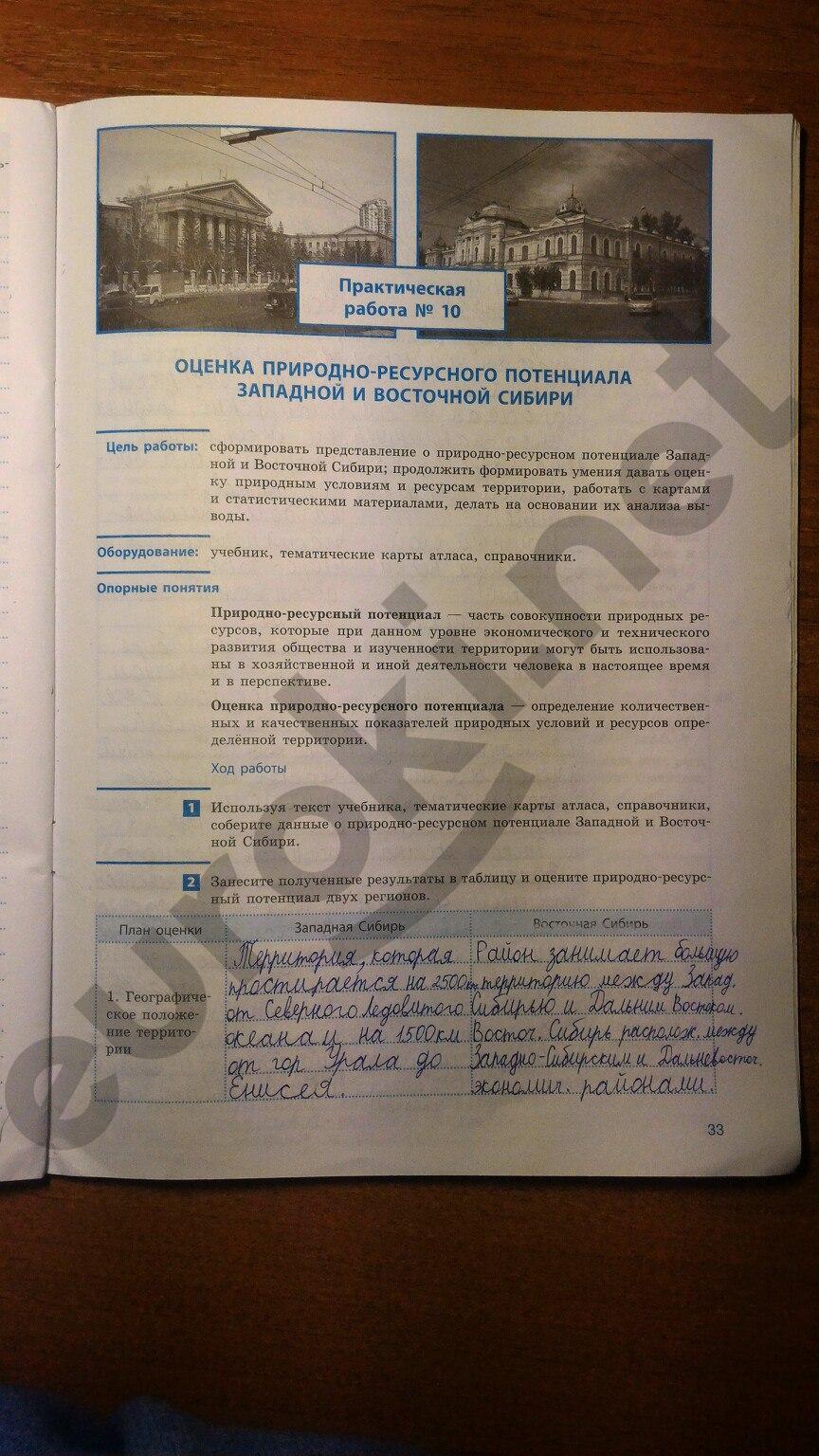 ГДЗ по географии 9 класс рабочая тетрадь Супрычев, Григоренко. Задание: стр. 33