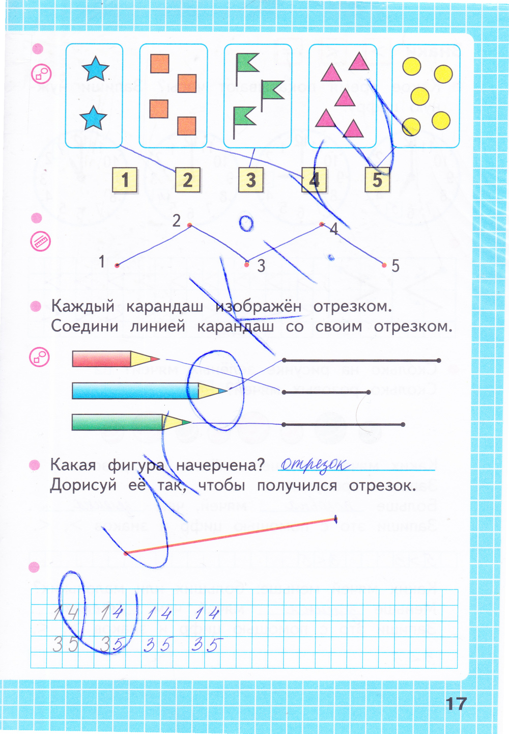 ГДЗ по математике 1 класс рабочая тетрадь Моро, Волкова Часть 1, 2. Задание: стр. 17