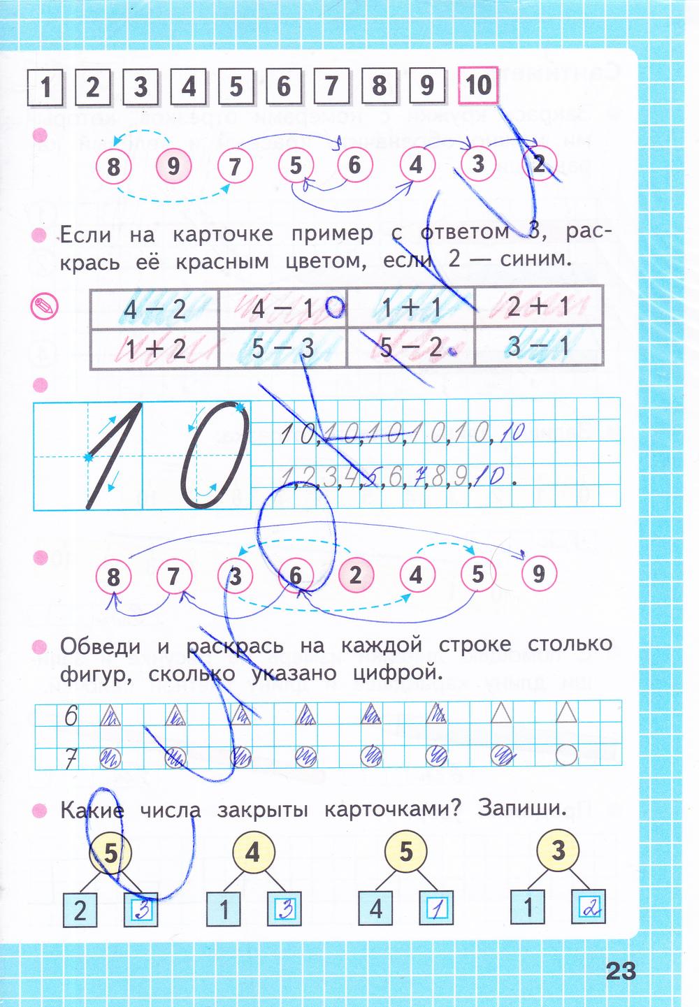 ГДЗ по математике 1 класс рабочая тетрадь Моро, Волкова Часть 1, 2. Задание: стр. 23