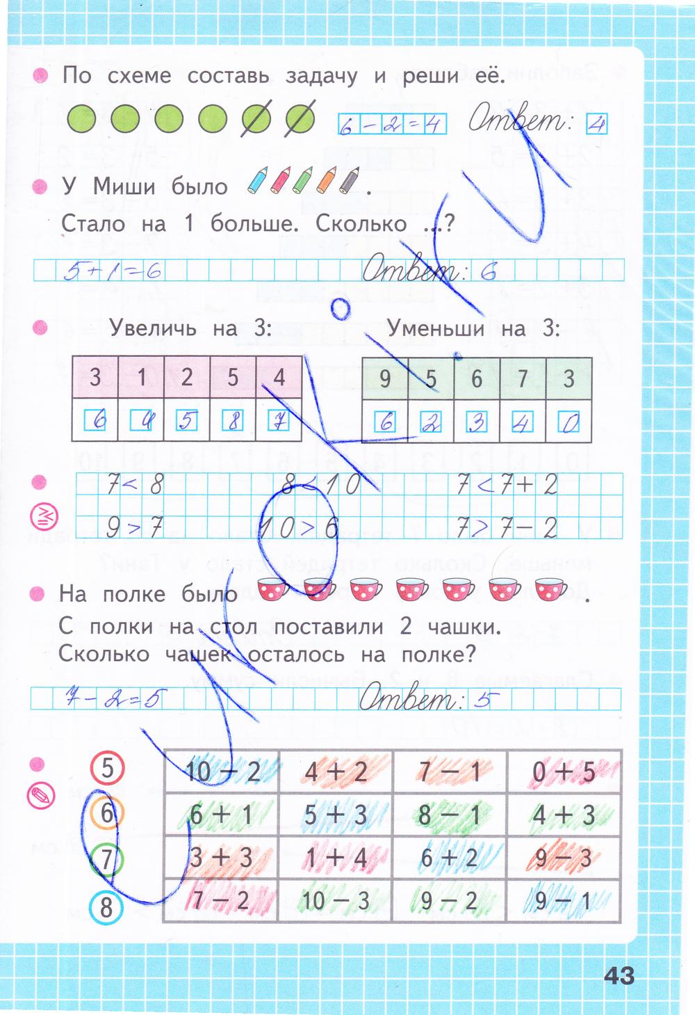ГДЗ по математике 1 класс рабочая тетрадь Моро, Волкова Часть 1, 2. Задание: стр. 43