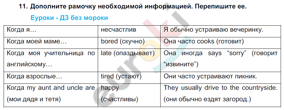 ГДЗ по английскому языку 7 класс Биболетова Юнит 1, Домашняя работа. Задание: 11