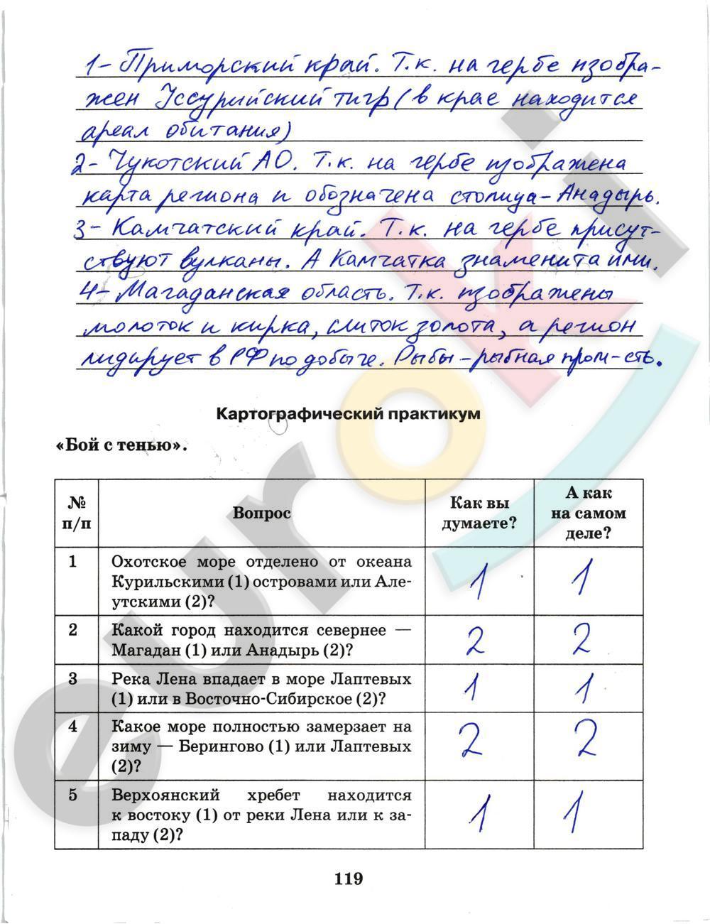 ГДЗ по географии 9 класс рабочая тетрадь Домогацких Часть 1, 2. Задание: стр. 119