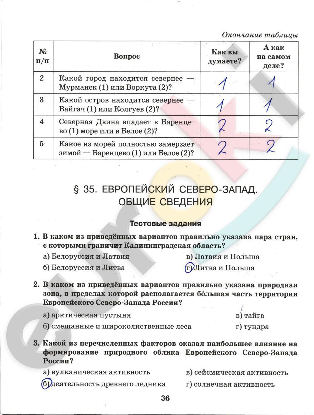 ГДЗ по географии 9 класс рабочая тетрадь Домогацких Часть 1, 2. Задание: стр. 36