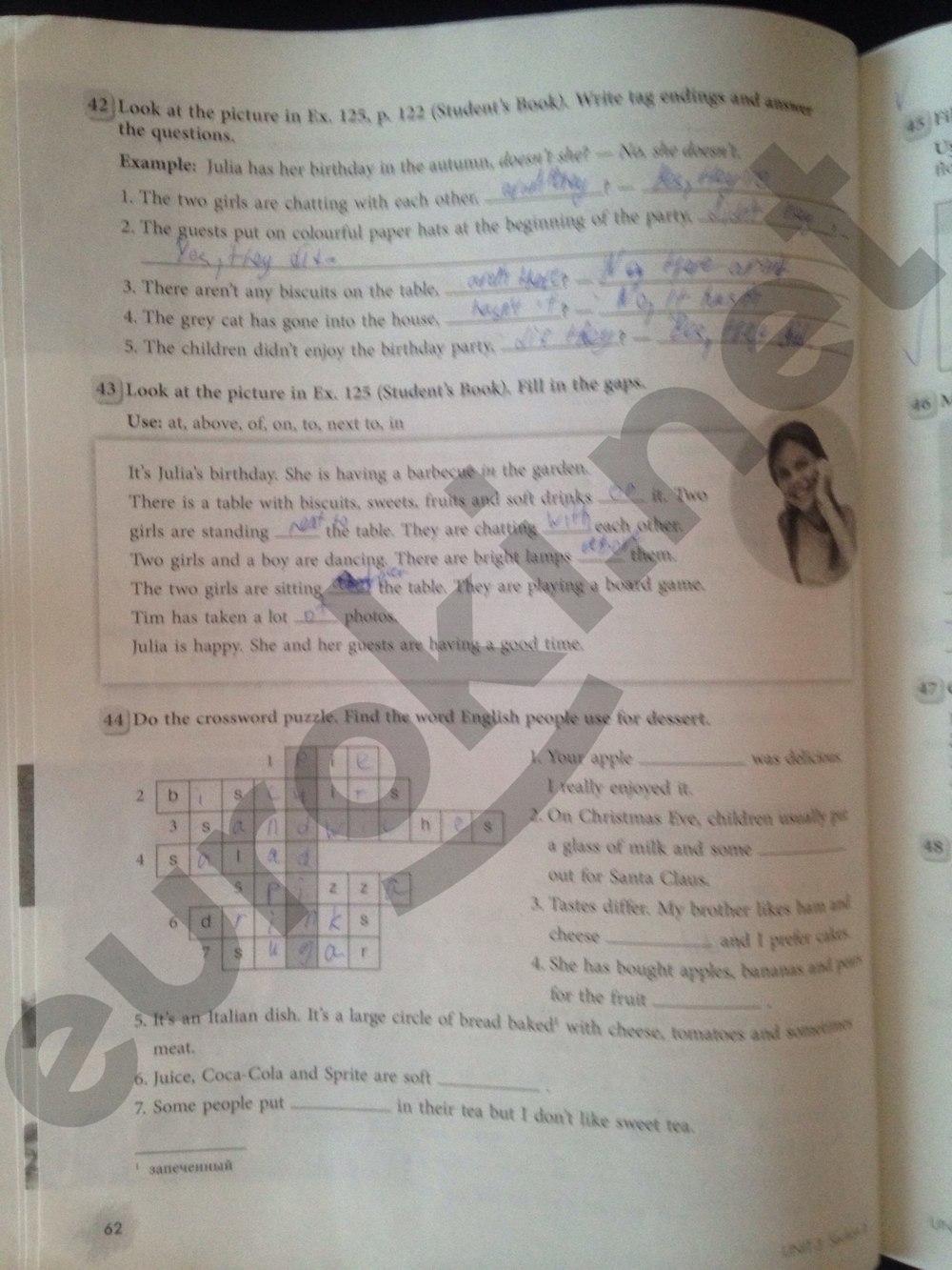 ГДЗ по английскому языку 5 класс рабочая тетрадь Биболетова. Задание: стр. 62