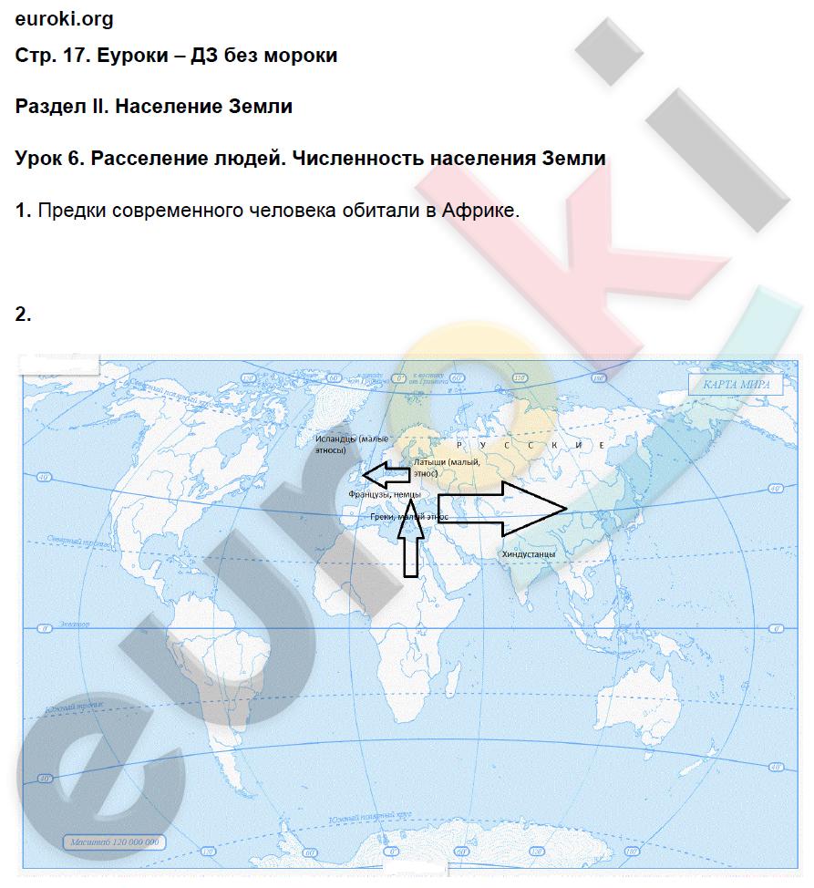 ГДЗ по географии 7 класс рабочая тетрадь Душина Часть 1, 2. Задание: стр. 17