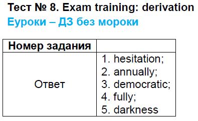 ГДЗ по английскому языку 9 класс контрольно-измерительные материалы Сахаров Exam training - Derivation. Задание: Тест 8. exam training - derivation