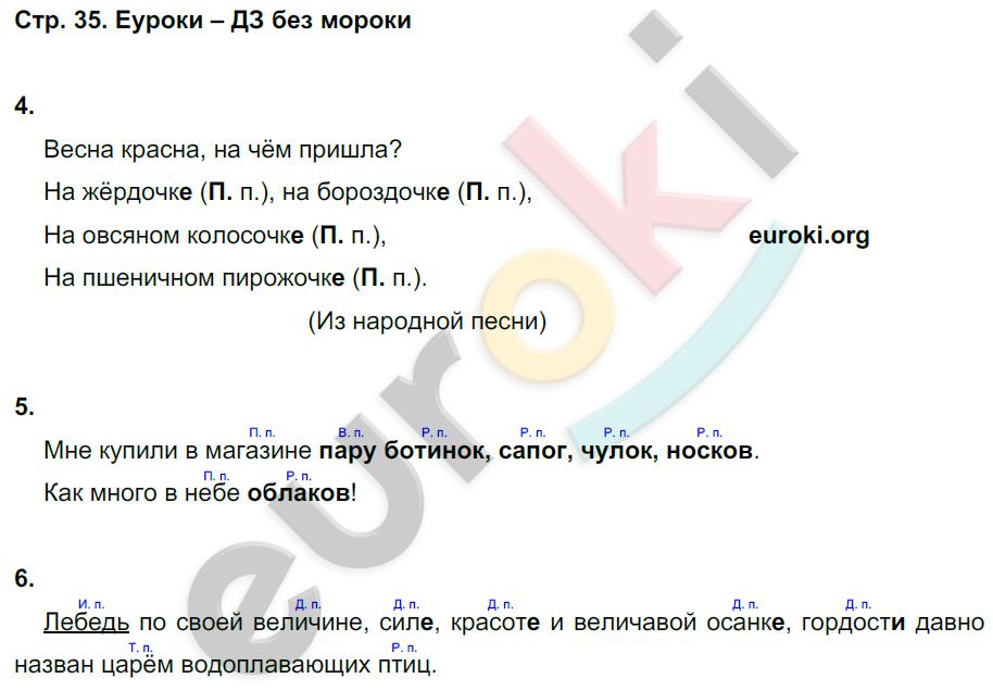 ГДЗ по русскому языку 4 класс контрольные работы Крылова Часть 1, 2. Задание: стр. 35
