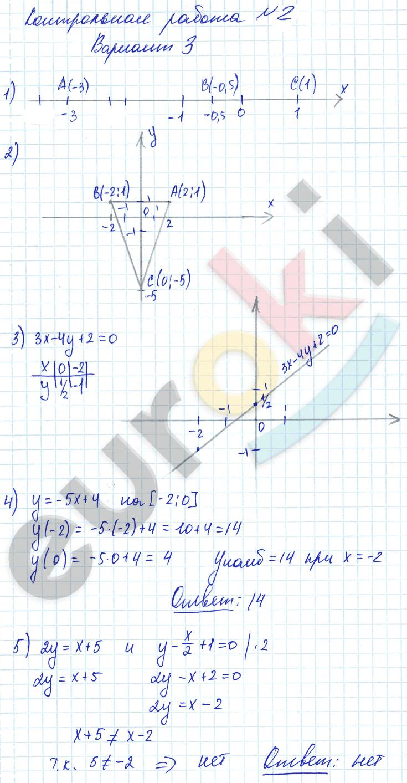 ГДЗ по алгебре 7 класс контрольные и самостоятельные работы Попов, Мордкович Контрольные работы, К-2. Линейная функция. Задание: Вариант 3