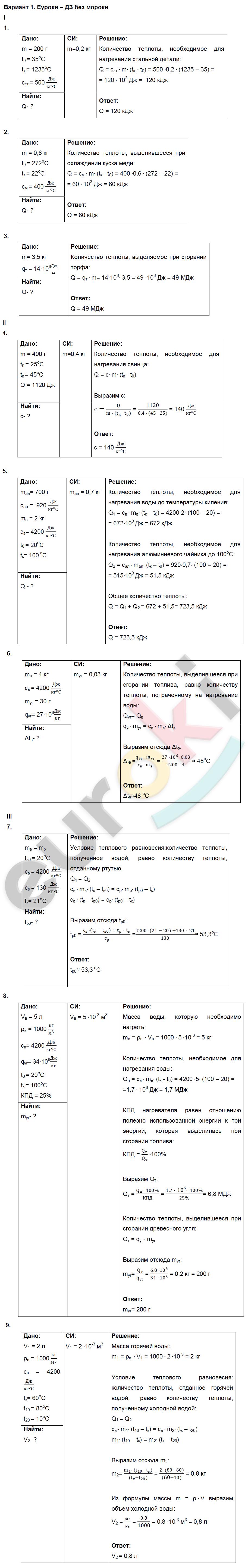 ГДЗ по физике 8 класс дидактические материалы Марон, Перышкин Контрольные работы, КР-1. Расчет количества теплоты. Задание: Вариант 1