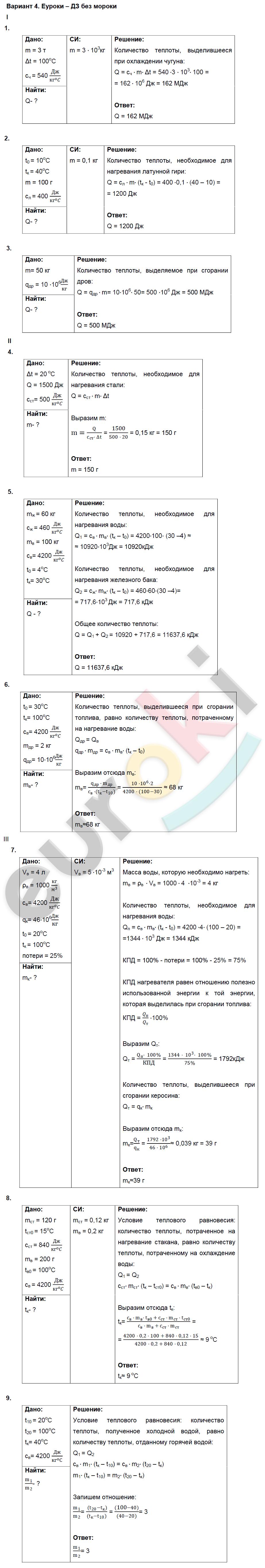 ГДЗ по физике 8 класс дидактические материалы Марон, Перышкин Контрольные работы, КР-1. Расчет количества теплоты. Задание: Вариант 4