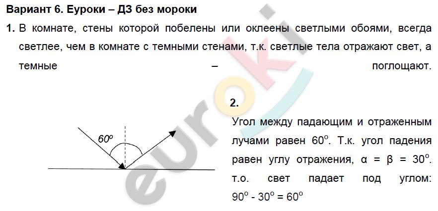 ГДЗ по физике 8 класс дидактические материалы Марон, Перышкин Самостоятельные работы, СР-12. Отражение света. Плоское зеркало. Задание: Вариант 6