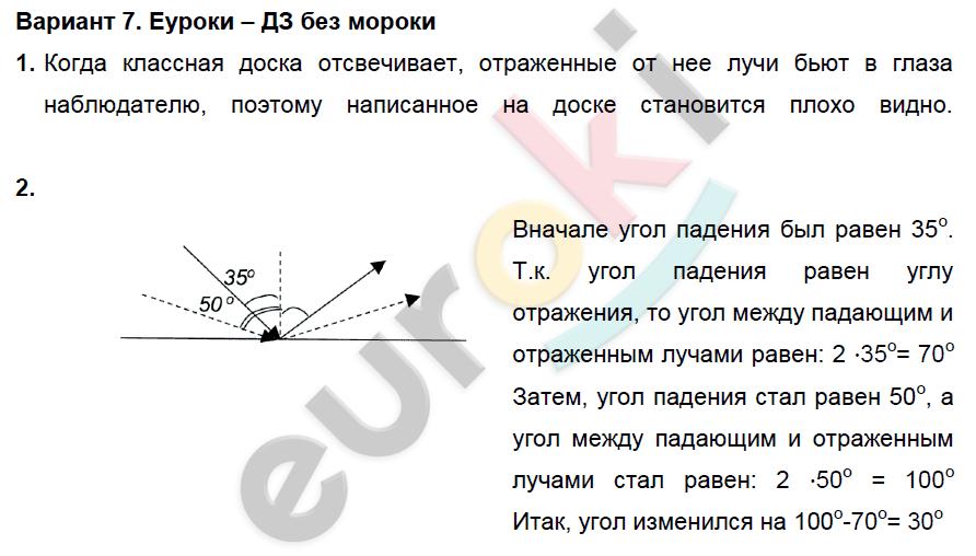ГДЗ по физике 8 класс дидактические материалы Марон, Перышкин Самостоятельные работы, СР-12. Отражение света. Плоское зеркало. Задание: Вариант 7