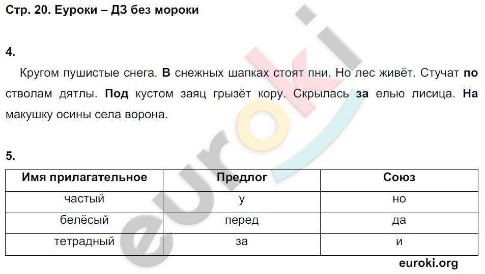 ГДЗ по русскому языку 3 класс контрольные работы Крылова Часть 1, 2. Задание: стр. 20