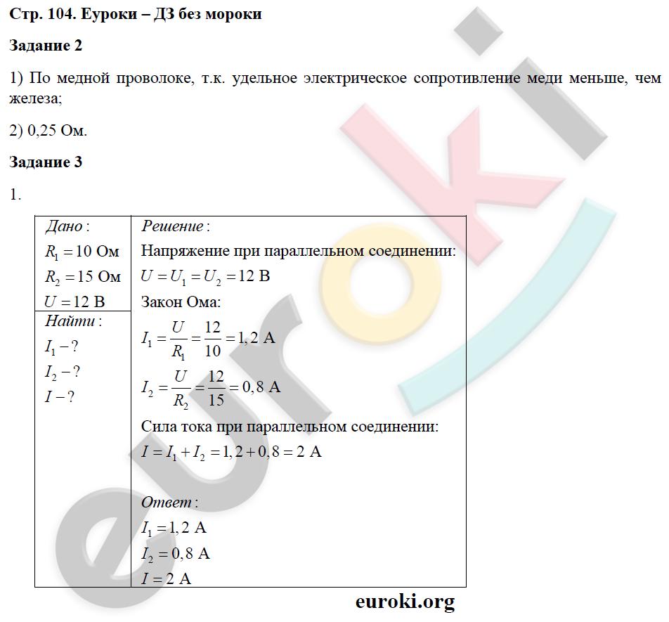 ГДЗ по физике 8 класс рабочая тетрадь Перышкин. Задание: стр. 104