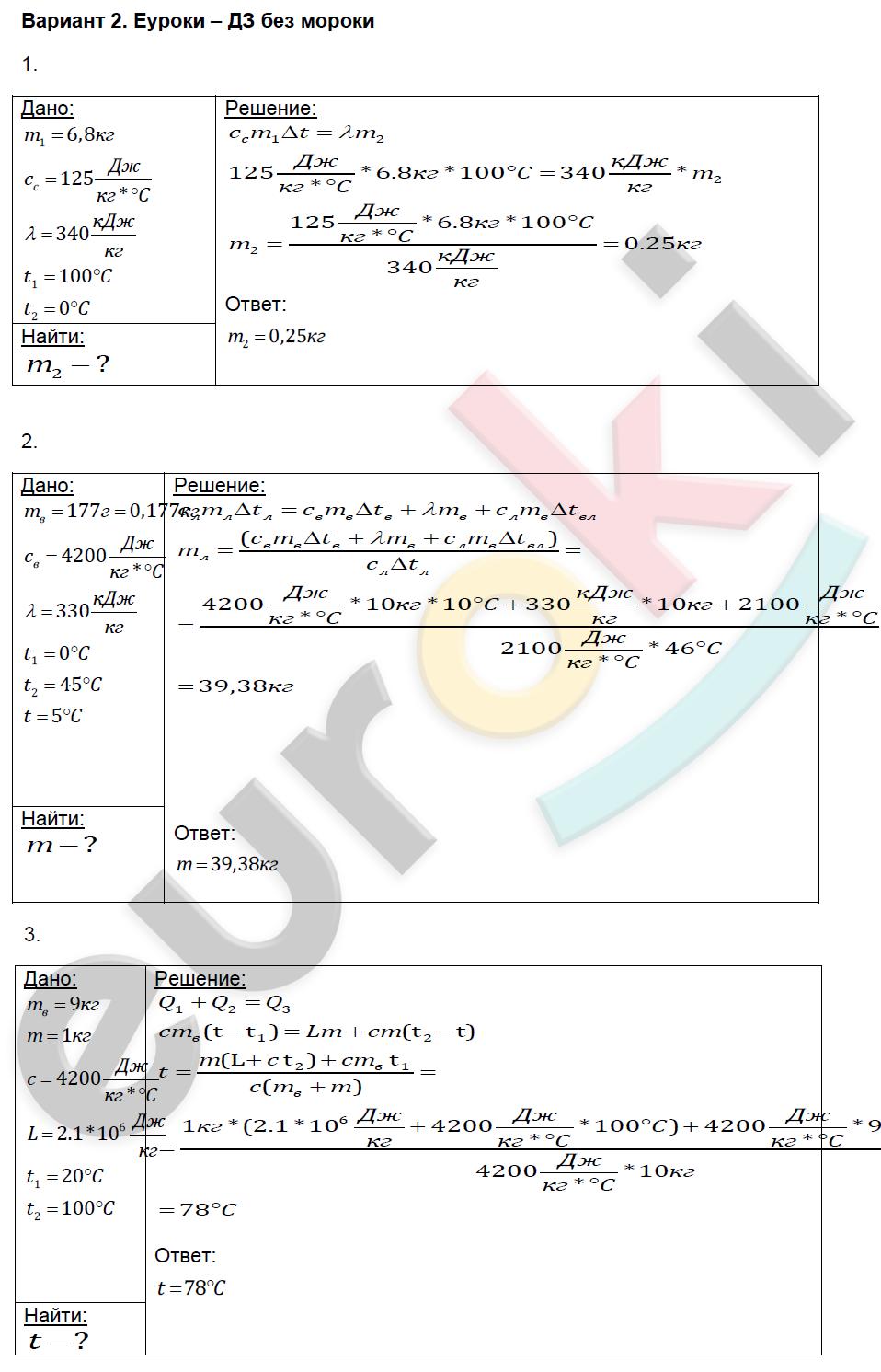 ГДЗ по физике 8 класс контрольные и самостоятельные работы Громцева Самостоятельные работы, СР-19. Теплообмен. Задание: Вариант 2