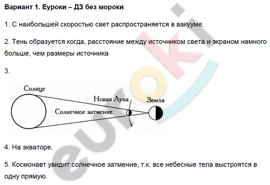 ГДЗ по физике 8 класс контрольные и самостоятельные работы Громцева Самостоятельные работы, СР-45. Распространение света. Задание: Вариант 1