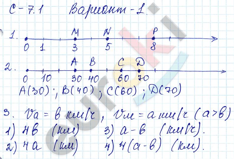 ГДЗ по математике 5 класс самостоятельные работы Зубарева, Мильштейн, Шанцева Тема 1. Натуральные числа, С-7.1. Координатный луч. Задание: Вариант 1