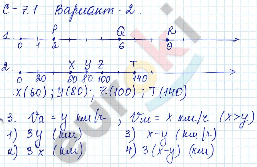 ГДЗ по математике 5 класс самостоятельные работы Зубарева, Мильштейн, Шанцева Тема 1. Натуральные числа, С-7.1. Координатный луч. Задание: Вариант 2
