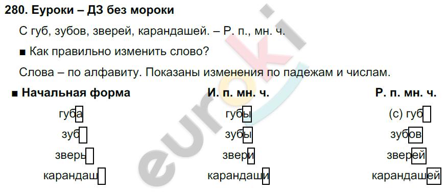 ГДЗ по русскому языку 4 класс Соловейчик, Кузьменко Часть 1, 2 Часть 1. Задание: 280