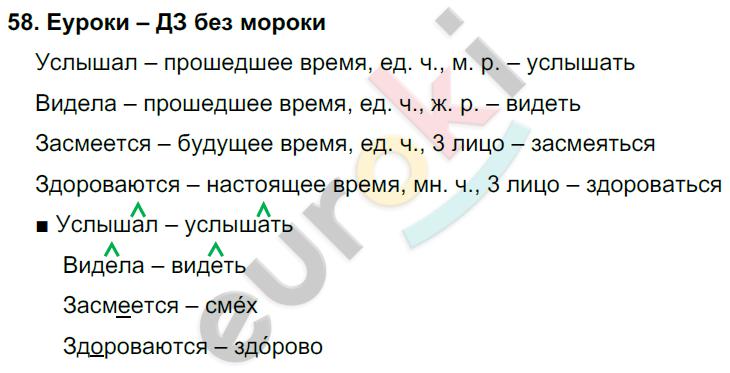 ГДЗ по русскому языку 4 класс Соловейчик, Кузьменко Часть 1, 2 Часть 1. Задание: 58