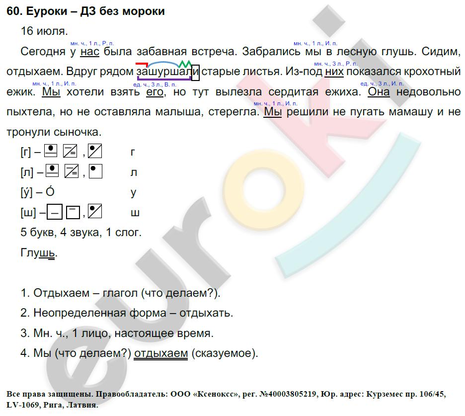 ГДЗ по русскому языку 4 класс Соловейчик, Кузьменко Часть 1, 2 Часть 1. Задание: 60