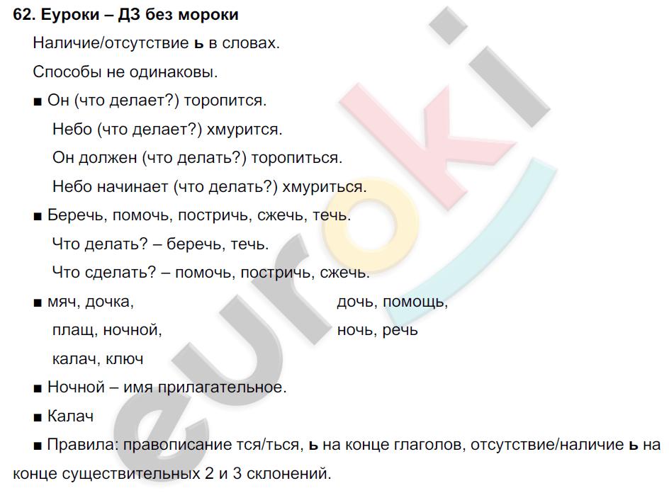 ГДЗ по русскому языку 4 класс Соловейчик, Кузьменко Часть 1, 2 Часть 1. Задание: 62
