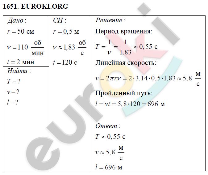 ГДЗ по физике 9 класс Перышкин (сборник задач). Задание: 1651