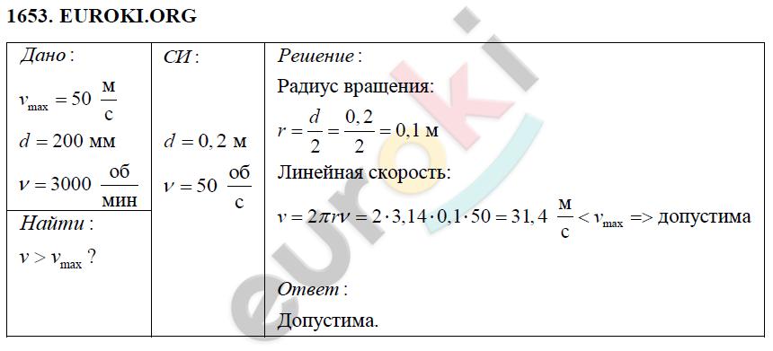 ГДЗ по физике 9 класс Перышкин (сборник задач). Задание: 1653