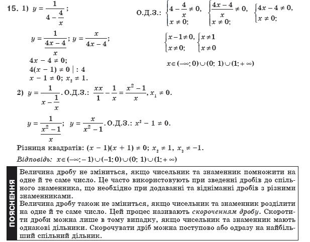 ГДЗ по алгебре 8 класс Мерзляк А., Полонський В., Якiр М.. Задание: 15