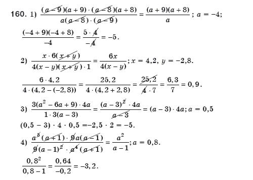 ГДЗ по алгебре 8 класс Мерзляк А., Полонський В., Якiр М.. Задание: 160