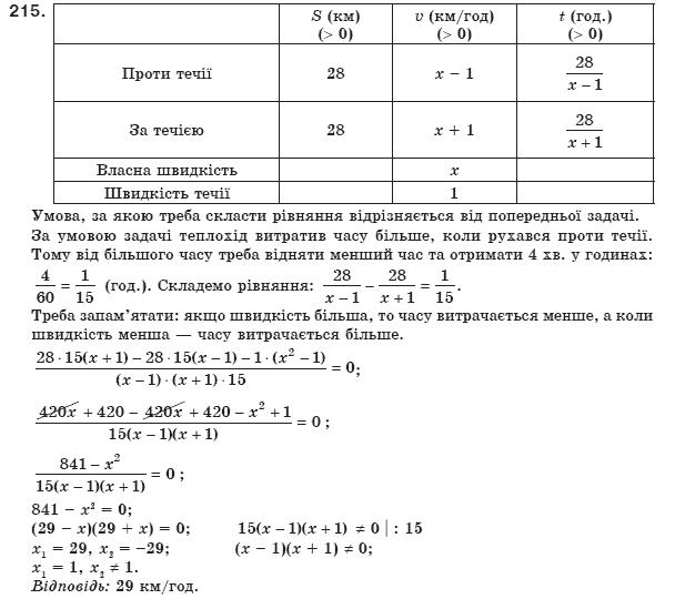 ГДЗ по алгебре 8 класс Мерзляк А., Полонський В., Якiр М.. Задание: 215